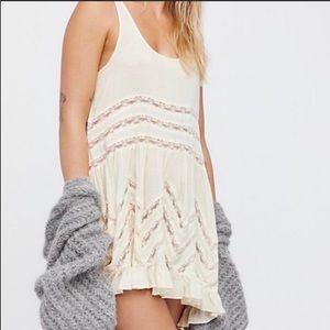 Free People Volie Trapeze Cream Lace Slip Dress
